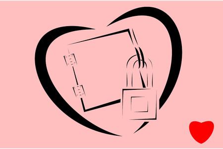minimalist design: Minimalist design of locked heart graphic