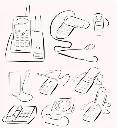 Minimalist design of phone generation icon set vector Vector