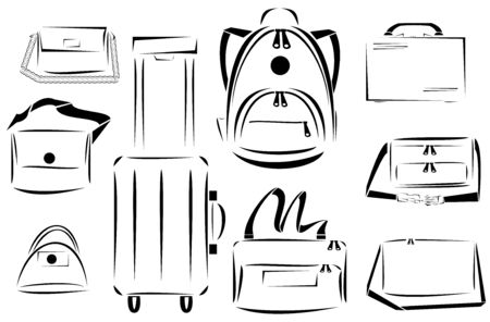 packsack: Design of bags icon vector set