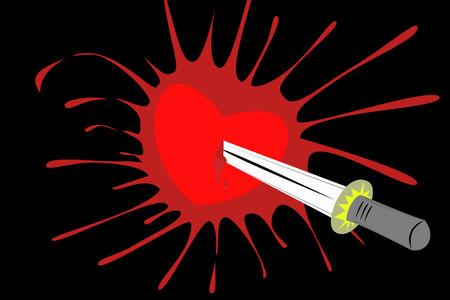 mortalidad: Coraz�n perforado por la espada a trav�s de la pared con las salpicaduras de la sangre
