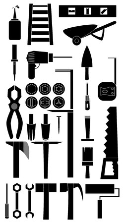 soldering: Silhouette icon set of DIY tools Illustration