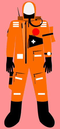 Full body survival suit with communicator unit Vector