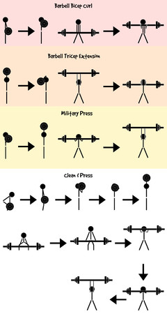 bicep curls: Stickman Weight training icon set Illustration
