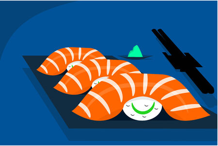 picking up: Sushi table with chopsticks picking up a salmon sushi  Illustration