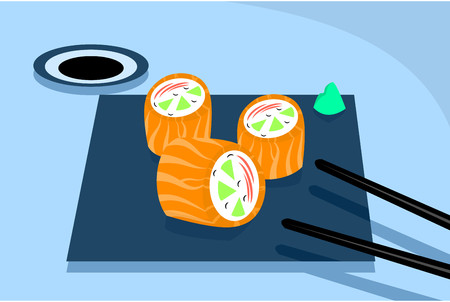 triplet: Sushi table with chopsticks picking up a salmon sushi  Illustration