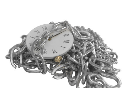 Chained clock isolated on white photo