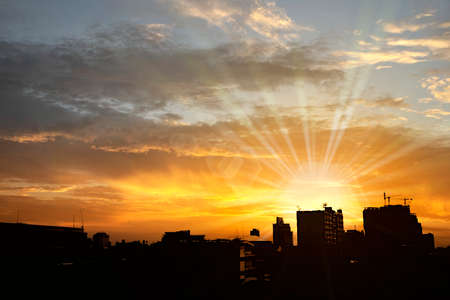 contrasty: Background of city silhouette with dramatic contrasty sky