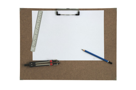 Art board and stationary isolated white background photo