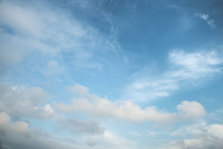 cumuli: Abstract white cloud over blue sk background Stock Photo