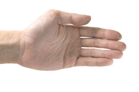 bruise: Closeup of Thai male hand with bruise skin offer a hand shake isolated on white