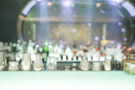 confortable: Abstract blurry empty drink counter restaurant with large blurry aquarium in background