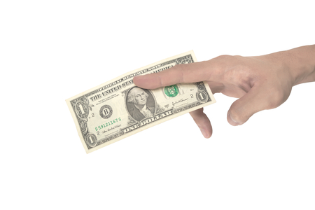 disparity: Man hand pinching a single dollar note