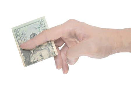 disparity: Man hand pinching a fold single dollar note