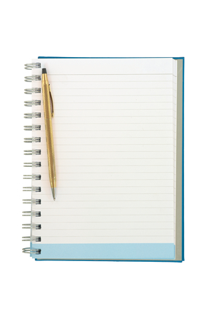 hard bound: Empty strip line notebook with twisted gold pen on left side of page isolated on white background