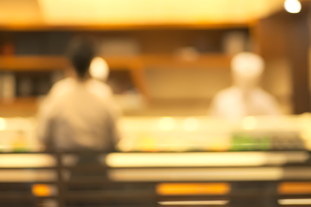 Abstract blurry sushi counter in vintage style decoration restaurant Stock Photo