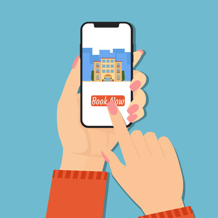 Design concept of hotel booking online. Hand holding phone with book now button and hotel on screen. Mobile application for renting accommodations. Flat vector illustration.
