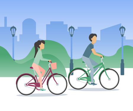Couple woman and man riding bikes through the park, city silhouette on background.  Vector illustration in flat design Illustration
