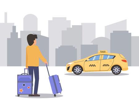 Mann mit Koffer nimmt Taxi. urbaner Hintergrund. Flache Vektorillustration.