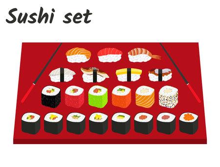 Japan food sushi and rolls big set - flat vector illustrations.