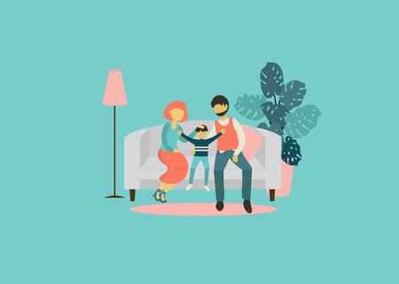 Flat design vector illustration on family. Two adult and child sitting together on sofa. Husband and wife with his son. Traditional family with child. Vecteurs