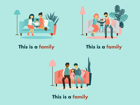 Flat design vector illustration on lesbian, gay and heterosexual family. Woman sitting together on a sofa Wife, husband with his son. Non-traditional and traditional families. Иллюстрация