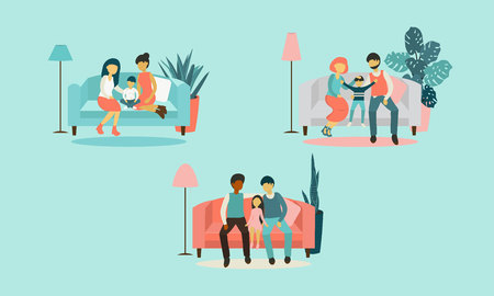 Flat design vector illustration on lesbian, gay and heterosexual family. Woman and man with his child sitting together on sofa. Wife, husband with his son. Non-traditional and traditional families. Ilustração