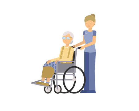 Flat vector illustration of old woman grandmother disabled in wheelchair and nurse isolated on white background.