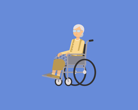 Flat vector illustration of old woman grandmother disabled in wheelchair isolated.