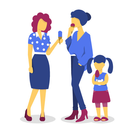 two beautiful young woman are talking and eating ice cream. Girl child eating ice cream with her mother. Flat vector illustration. Stock Illustratie