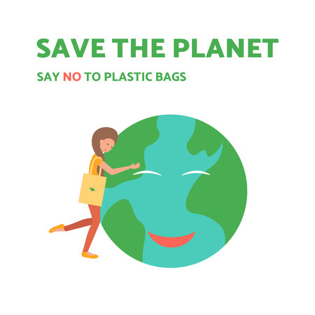 Young girl with eco bag hugs the happy smiling planet. Flat vector illustration. Say no to plastic bags and save the world. Vector Illustration