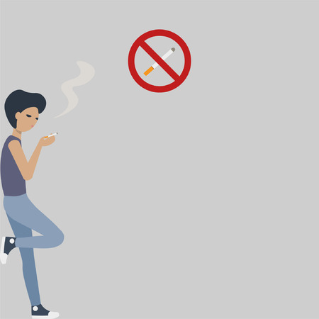 Young guy smokes a cigarette. No smoking labels. Flat vector illustration.