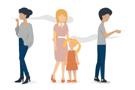 woman and man smoking a cigarette. mother and baby are standing nearly. flat vector illustration.