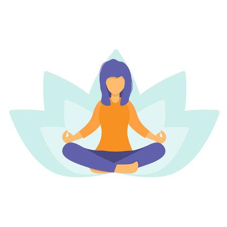 Mujer meditando en la naturaleza y las hojas. Chica haciendo yoga. Lotus plantean la práctica de la meditación. El concepto de estilo de vida saludable. Postura relajante y tranquila. Ilustración de vector plano.