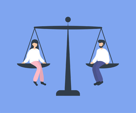 Man and woman sitting on weighing dishes of balance scale, equality. Flat vector illustration. Stockfoto - 125153244