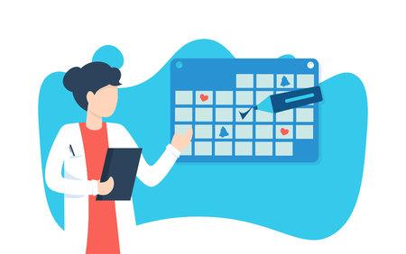 Femme médecin près du calendrier. Horaire de travail, prise de rendez-vous en ligne, note importante. Illustration vectorielle plane. Vecteurs