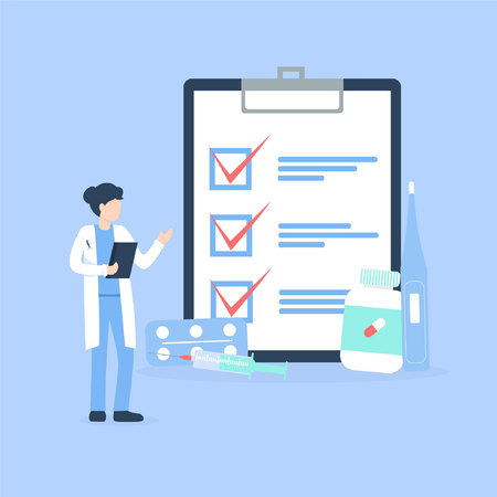 woman doctor near the clipboard with checklist and medical preparations. Flat vector illustration. Vecteurs