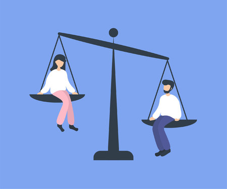 Man and woman sitting on weighing dishes of balance scale. Advantage in favor of a boy, no equality. Flat vector illustration. Stockfoto - 125153248