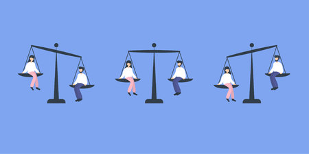 Man and woman sitting on weighing dishes of balance scale, equality. Flat vector illustration.