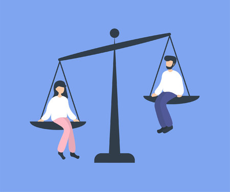 Man and woman sitting on weighing dishes of balance scale. Advantage in favor of a girl, no equality. Flat vector illustration. Stockfoto - 125153250