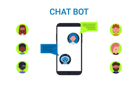 Chatbot concept. Woman chatting with chat bot on smartphone. People icons set avatars to choose. Flat vector design style illustration for business, site, web.