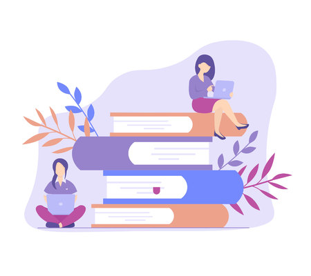 Concept education online, training, internet studying, read book remotely.  Distance education flat vector illustration.