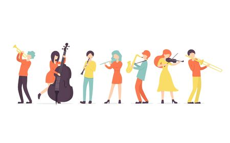 Flat vector background in a flat style of group of musicians, playing clarinet, saxophone, trumpet, flute, trombone, violin, contrabass instrument.