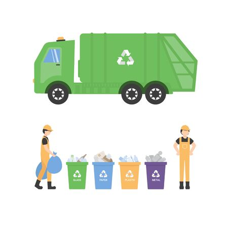 Containers with waste for recycle garbage. Waste management with, garbage truck and trash bins. Sanitation character worker clean up trash by sorting it. Flat illustration isolated.