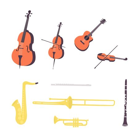 Flat vector illustration in a flat style of set of music instruments,  clarinet, saxophone, trumpet, flute, trombone, violin, contrabass, cello, guitar.
