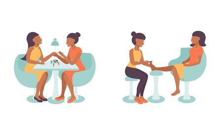 Pedicure and manicure salon illustration, characters  pedicurist and manicurist  woman working. Massage and pedicure, hand treatment, nails polishing of client. Flat vector design.