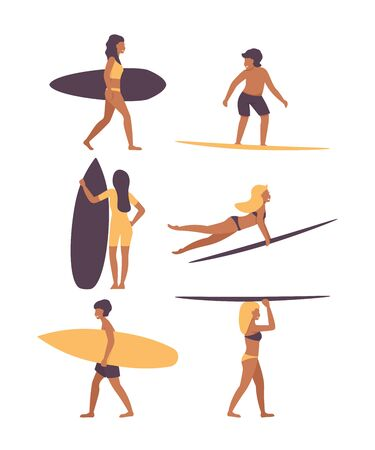 Set people on the surf board. Surfing. Surfers men and women with surfboards.  Summer surface water sport. Flat vector illustration design. 写真素材 - 128753078