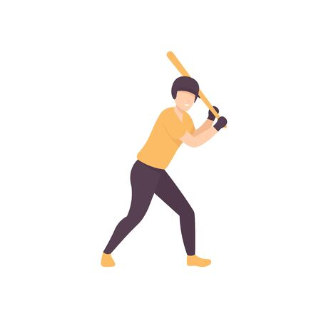 Baseball player with batter. Flat vector isolated illustration on white background.  イラスト・ベクター素材