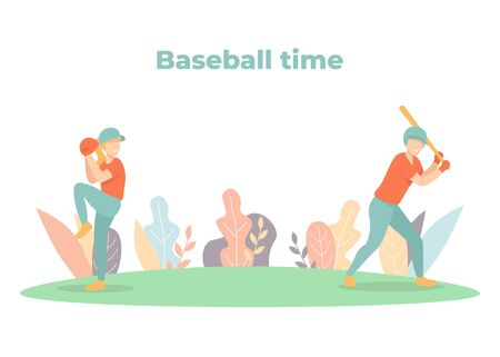 Man and woman in uniform playing baseball in the park. Pitcher and batter play game. Sports players in action. Cartoon flat vector illustration, banner, poster, web page template.