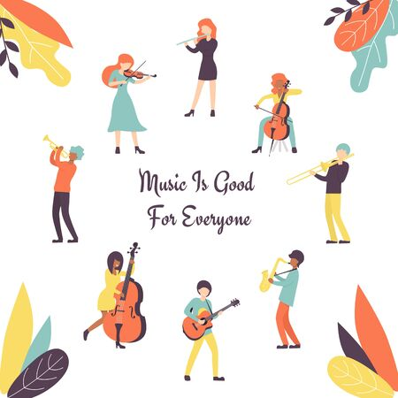 Big set group of musicians, playing saxophone, trumpet, flute, trombone, violin, contrabass, cello and guitar instruments. Flat vector illustration, flyer, poster. Иллюстрация