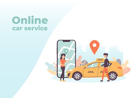 Online car service with cartoon characters and smartphone with map city, can use for landing page, template, web, mobile app, flyer, poster, banner. Standard-Bild - 128753279